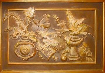 Пляска теней. живописный рельеф, левкас, акр., зол., 2005 г.